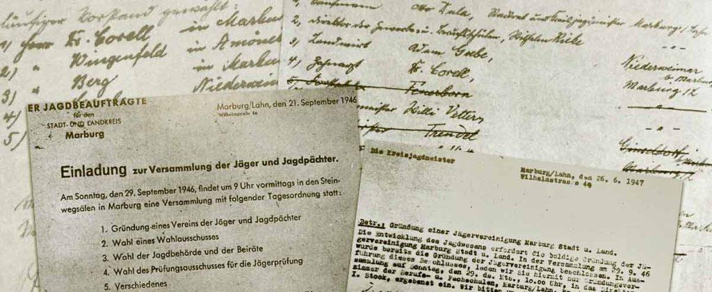 Gründungspapiere und Protokolle der Jägervereinigung Marburg